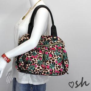 Betsey Johnson Floral Leopard Print Shoulder Bag